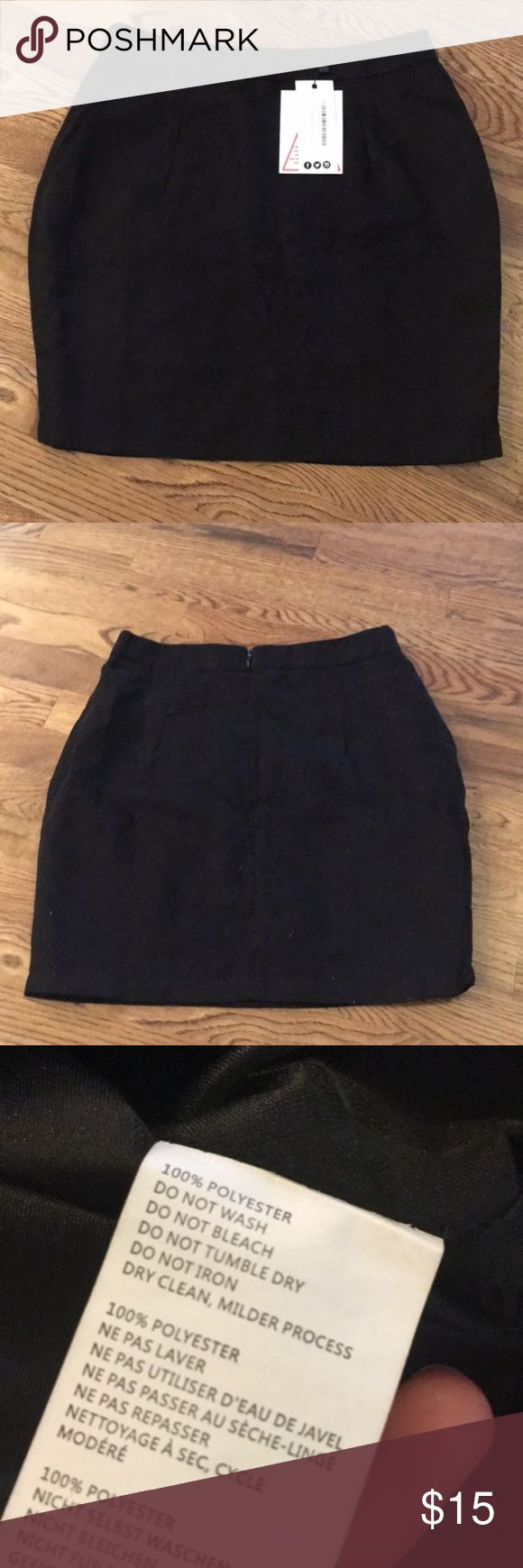 "NWT Boohoo Soft Suedette A-like Mini Skirt Bought from another seller, but it's a little tight on me.   Brand new with tags. Super cute skirt! Black. Mini skirt. Zips up back. Dry clean milder process  Top to bottom is 17"". The waist is almost 14"" laying flat Boohoo Skirts Mini"