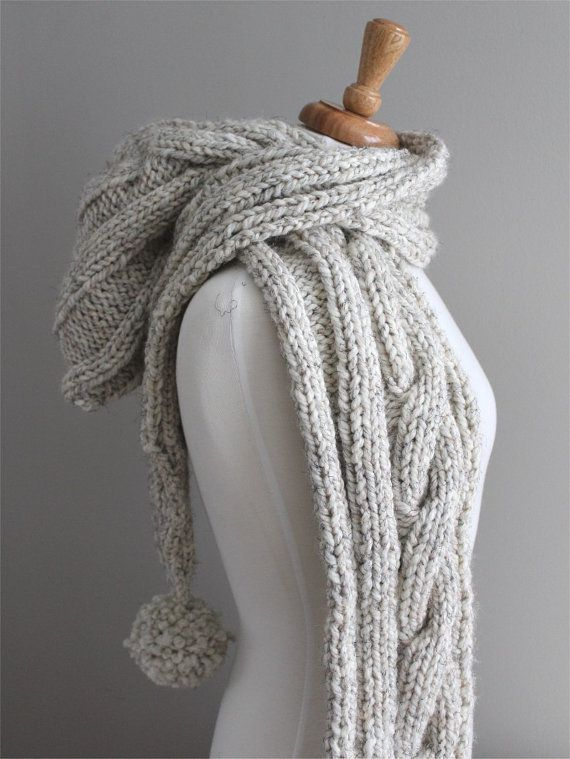 KNITTING PATTERN- Cable Hooded Scarf PDF knitting pattern                                                                                                                                                                                 More