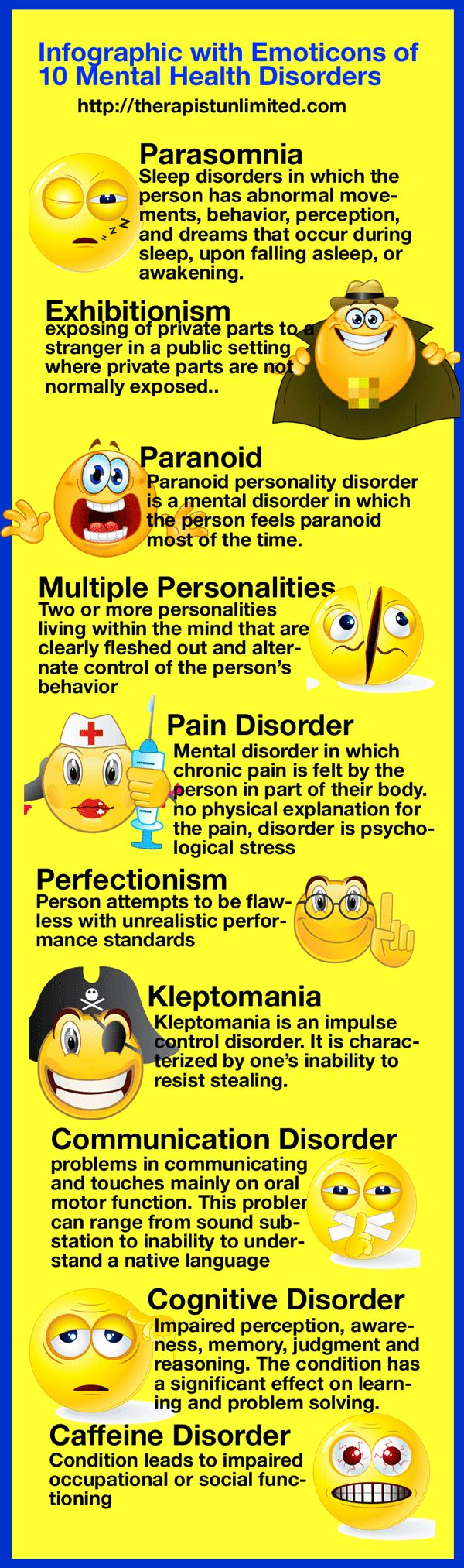 10 Mental Health Disorders Shown As Emoticons - While this infographic contains funny and informative information on Mental Health Disorders, our goal is to help create awareness of Mental Health Issues and Disorders.