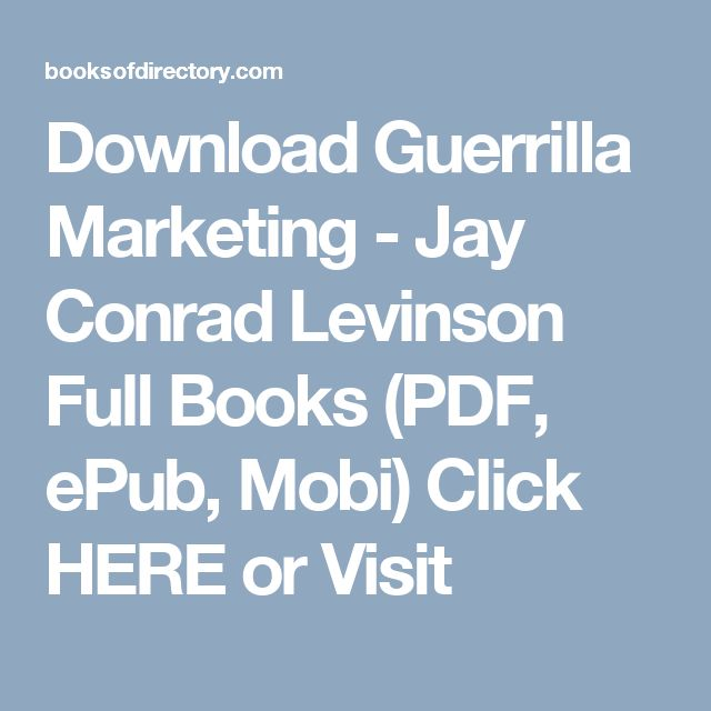 50 best pdf books images on pinterest pdf free ebooks and reading download guerrilla marketing jay conrad levinson full books pdf epub mobi fandeluxe Image collections