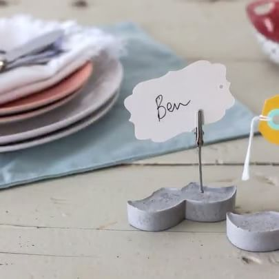 Spruce up your table décor with moustache cement place card holders – perfect for #movember.  #DIYFriday #partydecor #celebrate #tabledecor #tableideas  https://goo.gl/P9mnez