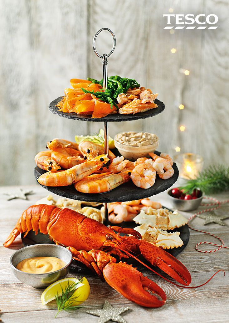 This three-tiered seafood platter will definitely impress your party guests - only available online through our Festive Food To Order | Tesco