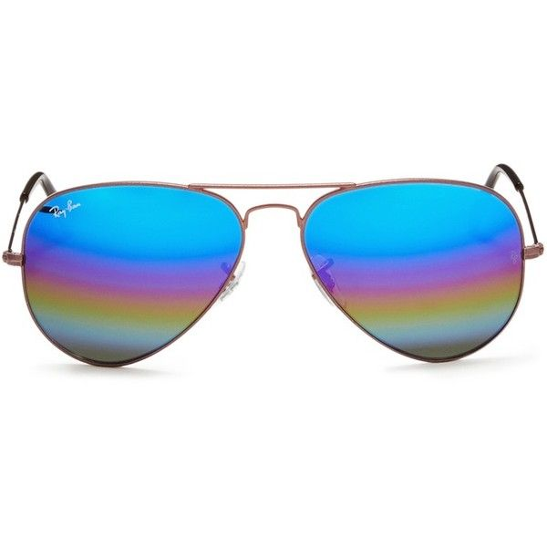 Ray-Ban 'Aviator Large Metal' glitter mirror sunglasses (1143380 PYG) ❤ liked on Polyvore featuring accessories, eyewear, sunglasses, mirrored aviators, mirror aviator sunglasses, ray ban glasses, glitter sunglasses and aviator sunglasses