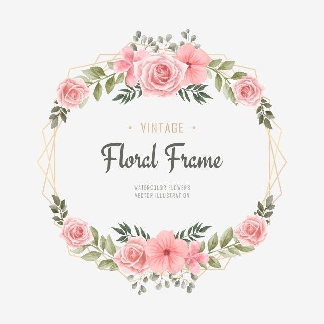 Wedding Watercolor Floral Flower Frame Background Pattern