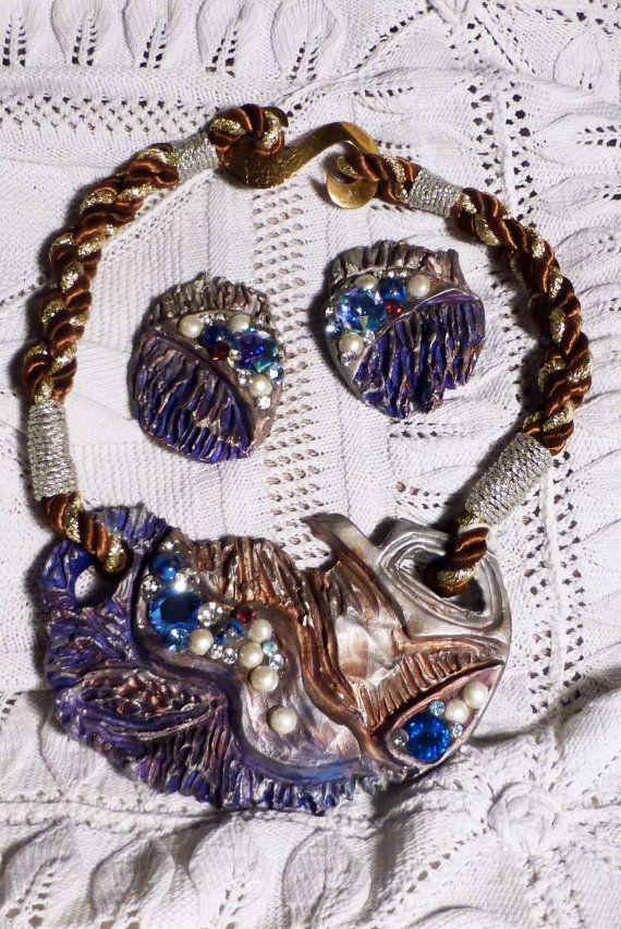 collana e orecchini  in ceramica e swarovski di factoryideas