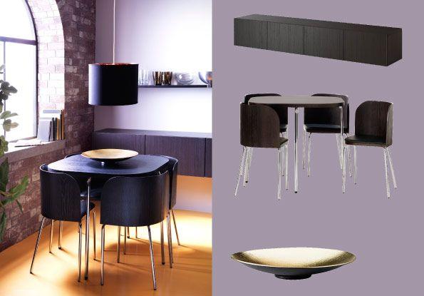 FUSION tafel en vier stoelen in bruinzwart/verchroomd