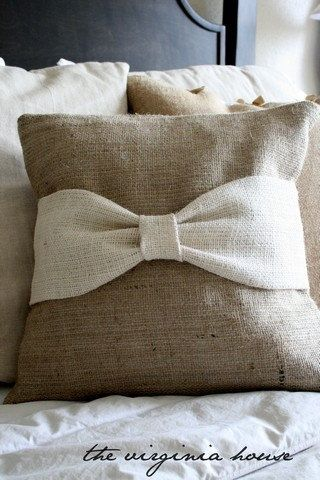 Burlap pillow - Click image to find more Home Decor Pinterest pins - Great idea for handwoven pieces! The bow could be a narrow piece with an inkle band at the middle.