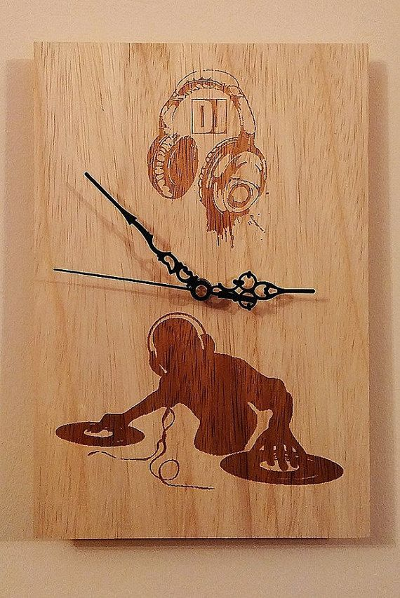 Check out this item in my Etsy shop https://www.etsy.com/listing/496157577/handmade-wooden-wall-clock-dj