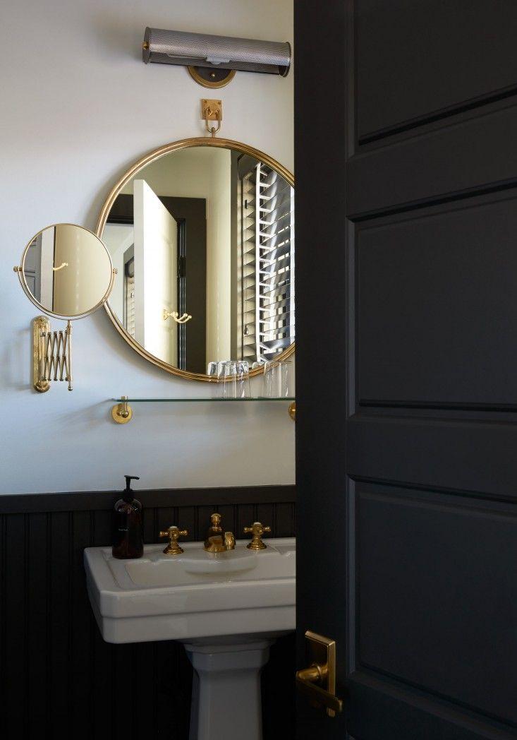 13 best tribal black bathroom images on pinterest black for Gold bathroom mirror