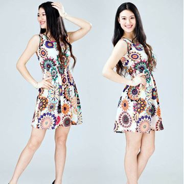 Show details for Women summer casual Bohemian floral printed sleeveless beach chiffon dress