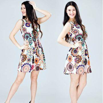 Show details for Women summer casual Bohemian floral printed sleeveless beach chiffon dress
