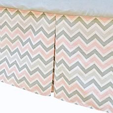 image of TL Care® Cotton Percale Tailored Crib Bed Skirt with Pleat in Pink/Grey Zigzag
