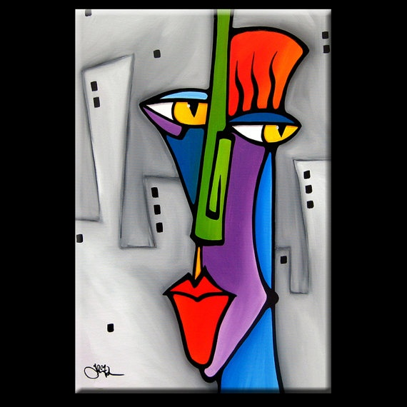 Suspicious - Original XTRA Large Abstract Contemporary Modern POP Art Painting by Fidostudio 4 foot x 6 foot
