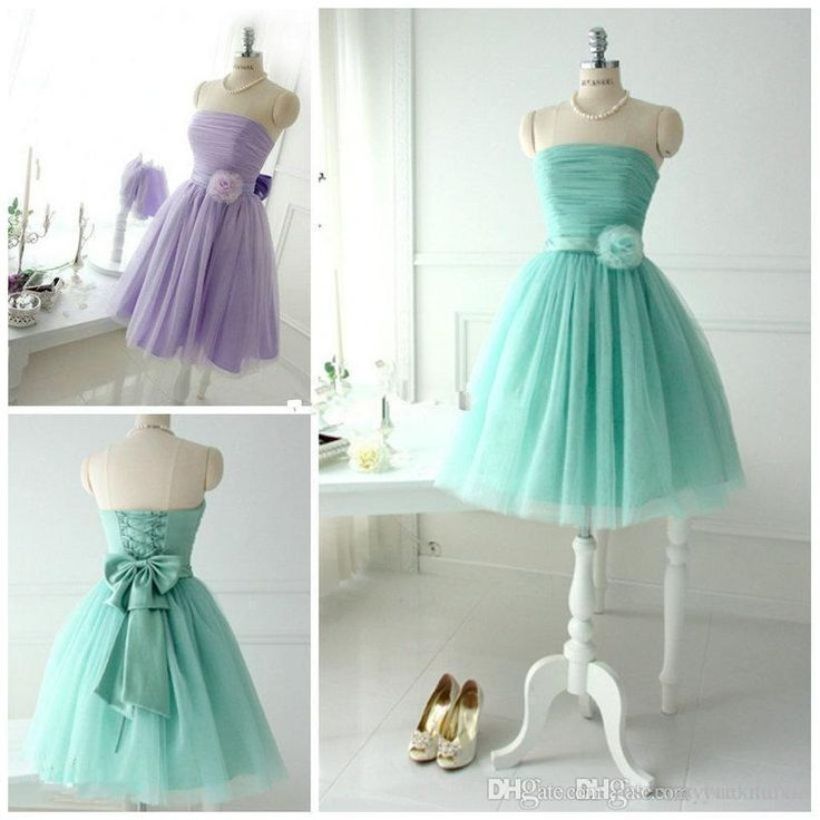 Short Lovely Mint Tulle Bridesmaid Dresses For Teens Young Girls 2015 Chic Flower Bow Sash Lace Up Strapless Bridal Party Beach Wear Gowns Online with $84.08/Piece on Rosemarybridaldress's Store   DHgate.com