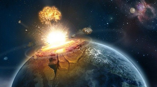 An artist's (very dramatic) impression of what an asteroid impact on Earth would look like