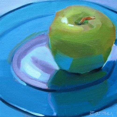 """Granny Smith on Blue Plate"": Robin Rosenthal"