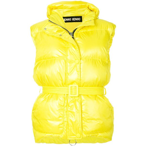 Ienki Ienki Belted Puffer Vest ($1,110) ❤ liked on Polyvore featuring outerwear, vests, yellow, yellow vest, sleeveless waistcoat, sleeveless puffer jacket, sleeveless puffer vest and puffy vest jacket