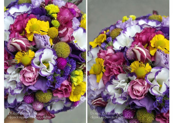 Baiciurina Olga's Design Room: Colorful violet&yellow wedding bouquet-Яркий,желто-фиолетовый букет.