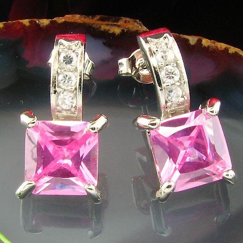 Cercei placati cu aur alb 18k cu safire roz