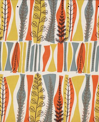Fabric pattern by Mary White (b.1926), 1954, Coppice, designed for Heals…