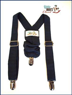 Navy Blue Herringbone Suspenders, baby boy, infant, dapper young man,  Handmade by Little Man's Closet
