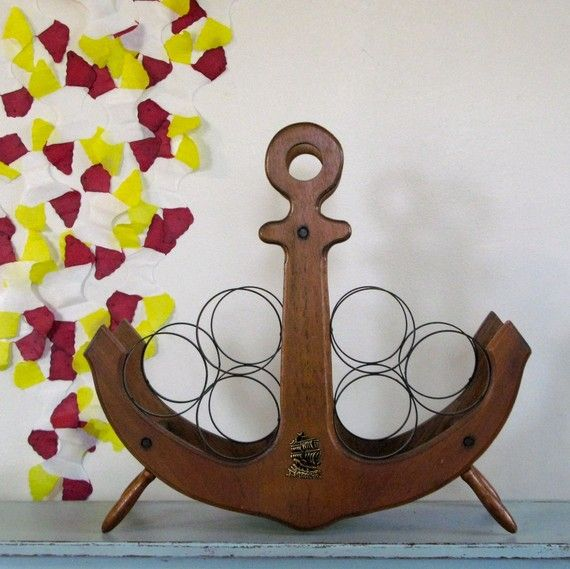 Nautical Anchor Vintage Wine Rack. $46.00, via Etsy. @Carly Sostheim This has our names written all over it!!