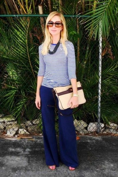 stripes/shades of blue: Blue Looks, Blue Jeans, Blue Pants, Blue Stripes, Ao Style, Blues Clues, Clothing Womensdress