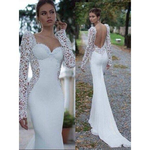 Mermaid Wedding Dresses Polyvore : Elegant sweetheart long sleeves lace open back mermaid
