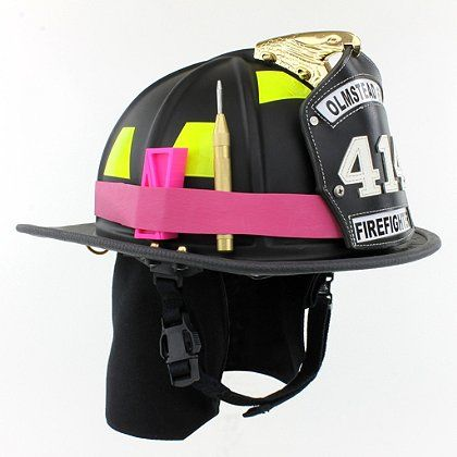 TheFireStore Exclusive: Proudly show your support for Breast Cancer Awareness with this Heavy Duty Pink Rubber Helmet Band for holding common firefighting accessories on your helmet! Perfect way to secure your flashlights, wedges, sprinkler stops, window punches and other important firefighting rescue tools!