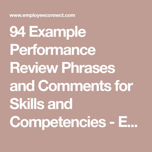 94 Example Performance Review Phrases and Comments for ...