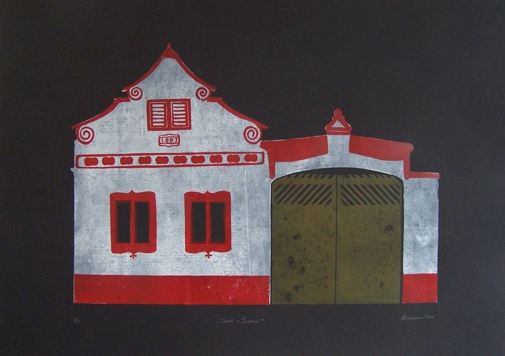 From series Homesteads and Barns - linocut, 2012, Barbora Hermanova