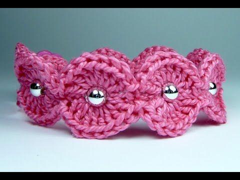 Brazalete a crochet, pulsera tejida en muy pocos minutos - YouTube