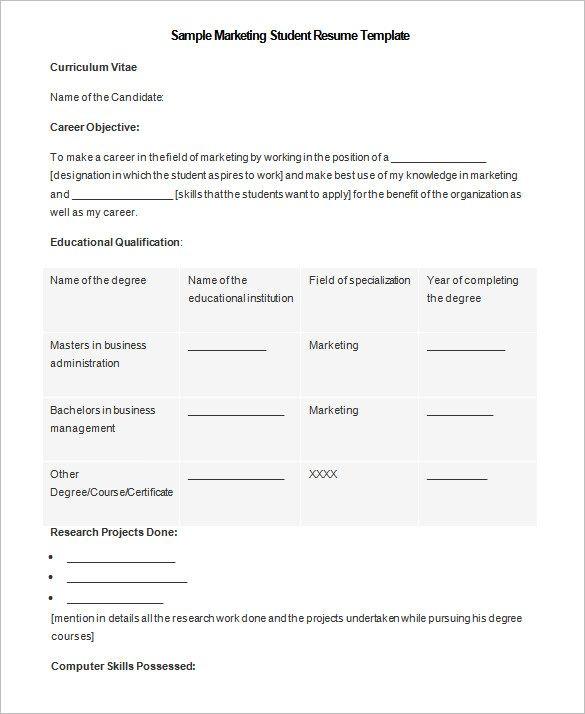 marketing student resume