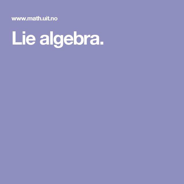 Lie algebra.