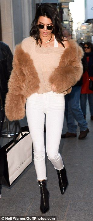 Kendall Jenner and Gigi Hadid rock matching white jeans as they hit the shops in Paris | Daily Mail Online