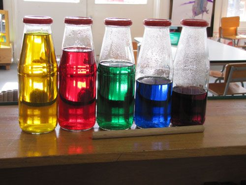 Coloured water musical bottles - Irresistible Ideas for play based learning