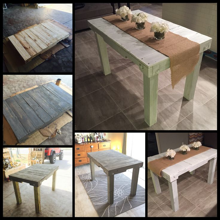 Kitchen table from start to finish.  Reclaimed pallets (2-3).  A little labor intensive but definitely worth the time and effort put into it.