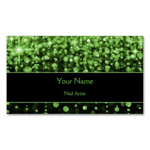 sparkle green bokeh Business Card