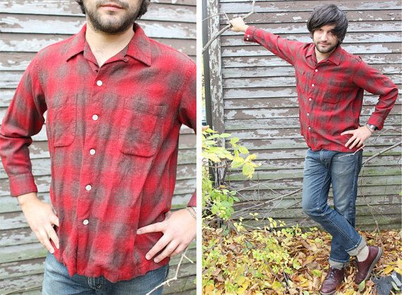 Vintage Looper Shirt SHADOW PLAID Red Flannel LANEROSSI Italy Game & Lake 50s Man Size Large long sleeved Button Up Italian Wool Sport Shirt by HarlowGirls on Etsy