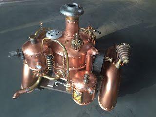 maquette moto a vapeur Steampunk Christian moreau