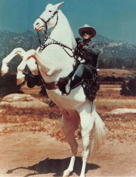 """The signature move of the Lone Ranger was to have Silver rare up on his hind legs with the lone ranger calling out, """"Hi Ho Silver"""" and away they would run into the horizon. Description from pinterest.com. I searched for this on bing.com/images"""
