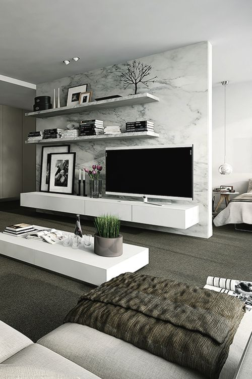 Love the wall unit and coffee table