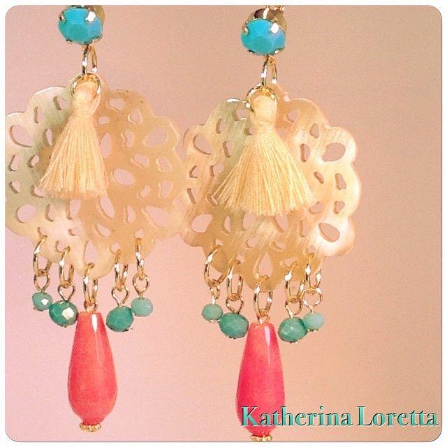 Earrings#buffelohorn#gemstones#goldplated#