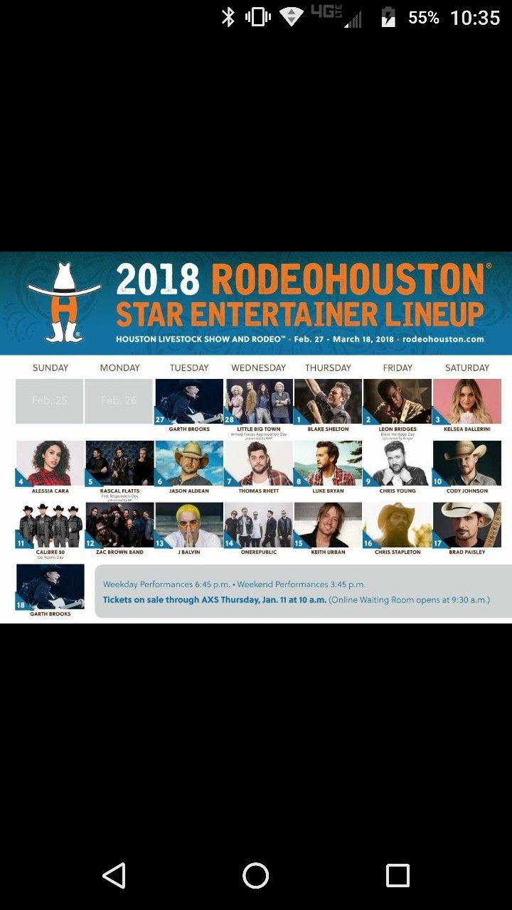 Rodeo lineup 2k18