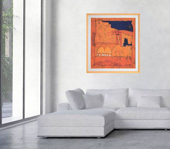 Large abstract print red orange giclee print on by MarilionFineArt