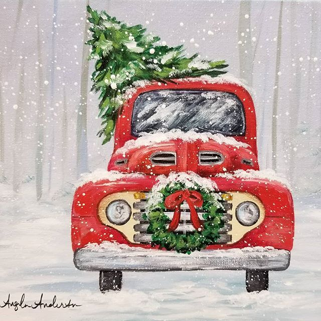 Red Christmas Truck Acrylic Painting Tutorial By Angela Anderson On Youtube Free Livestream Beginne Christmas Paintings Holiday Painting Christmas Watercolor