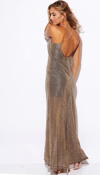 BG10059 This cute bronze number in store now selling for only $199. Jewelled shoulder straps in criss-cross design on open back. V-neck and bronze mesh fabric overlay with partial lining maxi dress.