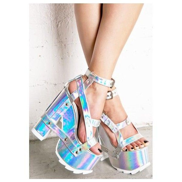Demonia Neo Romance Holographic Wedges (295 BRL) ❤ liked on Polyvore featuring shoes, sandals, silver wedge shoes, silver strap sandals, silver wedge sandals, platform shoes and caged wedge sandals
