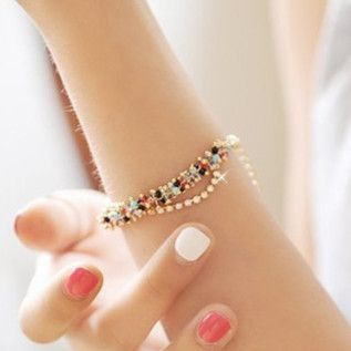Новинка чешского стиль женские браслет горный хрусталь красочные бусины многослойные браслеты