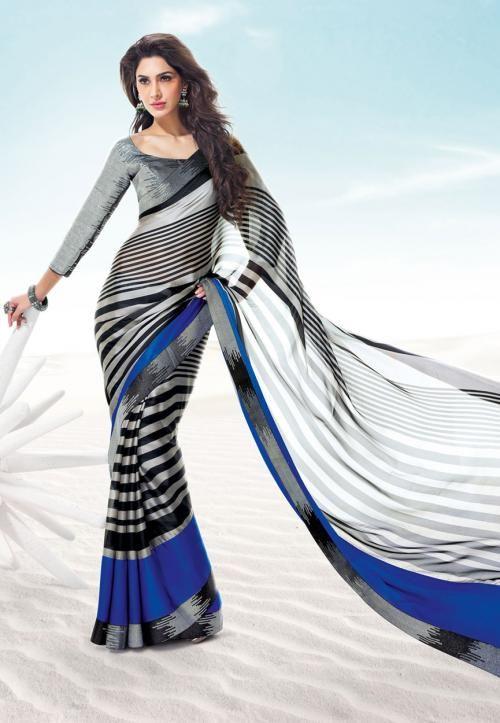 Blue and Grey Satin Saree with Blouse